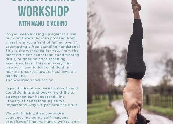 Handstand Workshop with Manu D'Aquino Sat 5th June 14:00  – 16:00